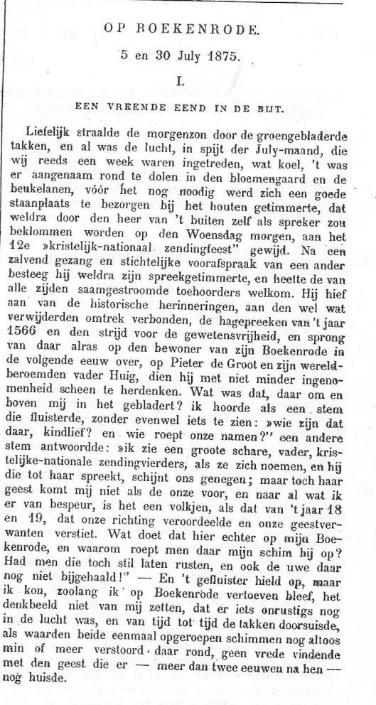 Op Boekenrode 5 en 30 juli 1875 door Johannes van Vloten, gepubliceerd in de Nederlandsche Spectator, 1875