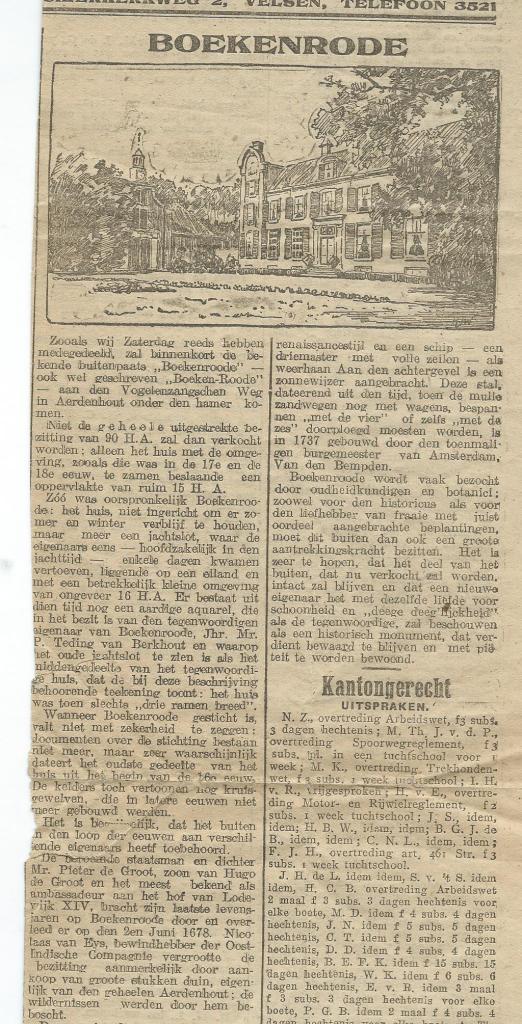 Artikel over Boekenrode, in: Haarlem's Dagblad van 14 september 1922