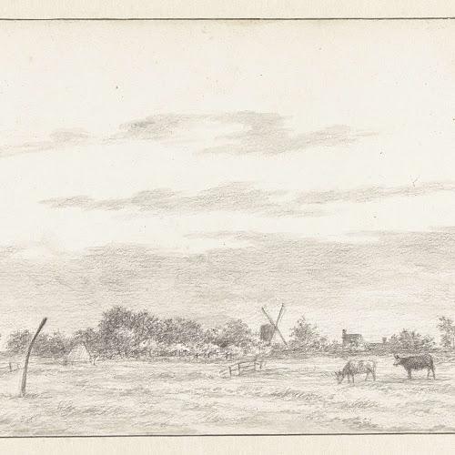 Pieter Bouman: Gezicht vanuit Heemstede op Schalkwijk, tekening 203 x 305 mm. in Prentenkabinet van het Rijksmuseum Amsterdam