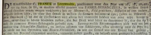 Bericht van Franck uit de Leeuwarder Courant van 13 december 1788