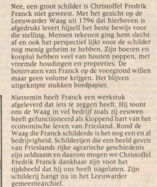 Beschrijving van schilderij de Boterwaag van Franck uit de Leeuwarder Courant, 1991