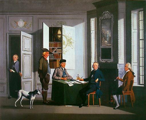 Schilderij door Christoffel Franck van het interieur van een notarishuis