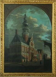 Het stadhuis van Bolsward door Christoffel Frederik Franck