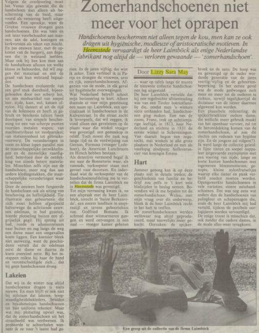 Artikel van Lizzy Sara May over het Heemsteedse handschoenenatelier Laïmböck, gepubliceerd in NRC, 8-9-1988