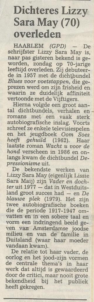 Overlijdensartikeltje in het Haarlems Dagblad
