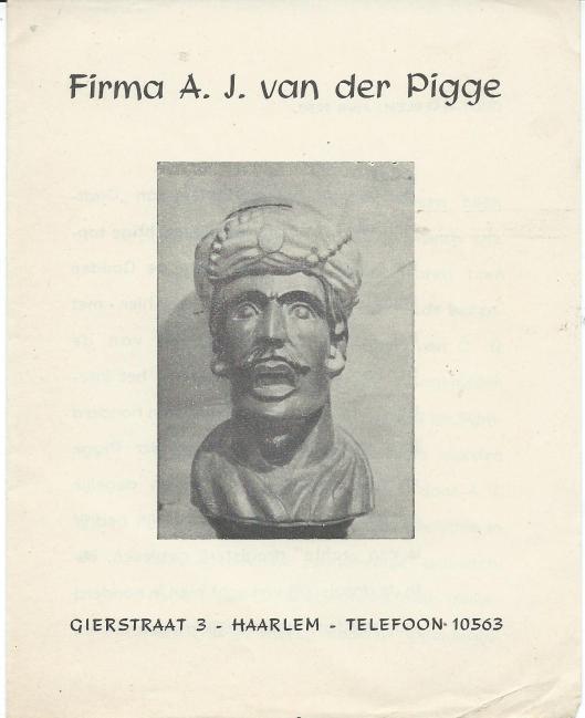 Voorzijde van in 1950 uitgegeven foldertje van frirma A.J.van der Pigge, Gierstraat 3, Haarlem anno 1849
