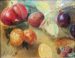 Vruchten geschilderd door Albert Steenbergen; een schilderijtje dat diende als voorstudie voor een groter doek