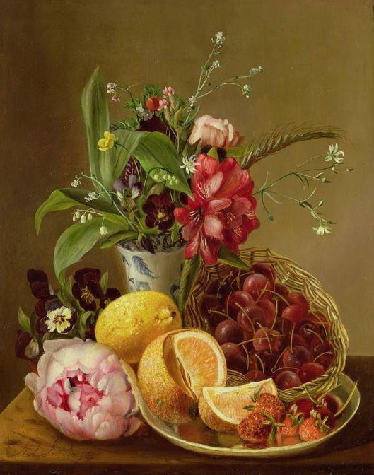 Bloemen- en vruchtenstilleven van Albert Steenbergen