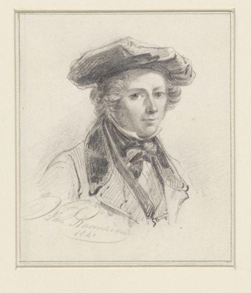 Getekend zelfportret van Jan van Ravenwaaij uit 1841