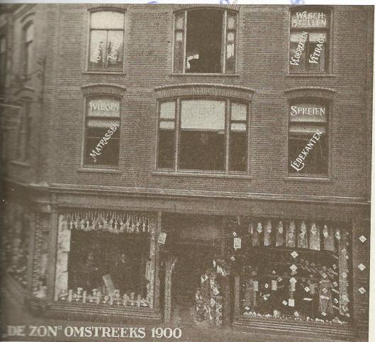 Magazijn 'De Zon' in de Korte Veerstraat omstreeks 1900