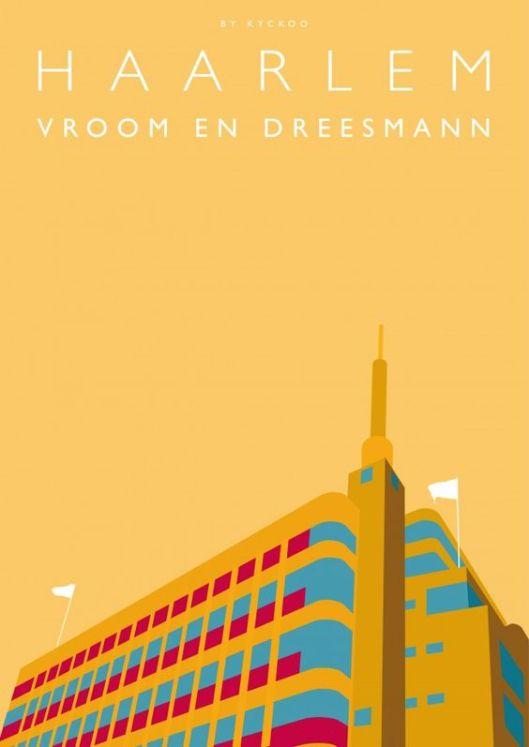 Het V&Dgebouw Haarlem als grafisch kunstwerkje