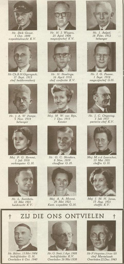 Bij het gouden jubileum van V&D Haarlem in 1946 zijn de pioniers niet vergeten. Velen waren 25, 40 of zelfs meer jaren in dienst van V&D.