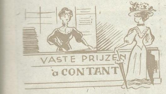 Tekeningetje van wat rond 1900 met duidelijke letters op de toombanken was geschi'lderd: 'vaste prijzen à contant