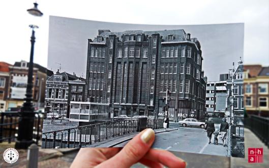 Het in 1977 gesloopte pand vh. V&D Haarlem tussen het Spaarne en de Korte Veerstraat (NHA)