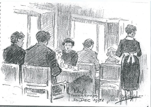 Tekenaar-illustrator tekende dit tafereeltje in de lunchroom van de Haarlemse V&D.