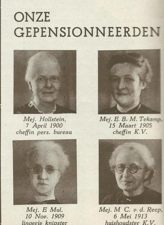 Ook gepensioneerde V&D'ers kregen met een portret aandacht in de hedenkingsuitgave van 1946