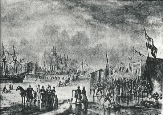 Tekening van een wintergezicht door Johannes Jacobus van der Werff, vermoedelijk Rotterdam met op de achtergrond de Laurenskerk
