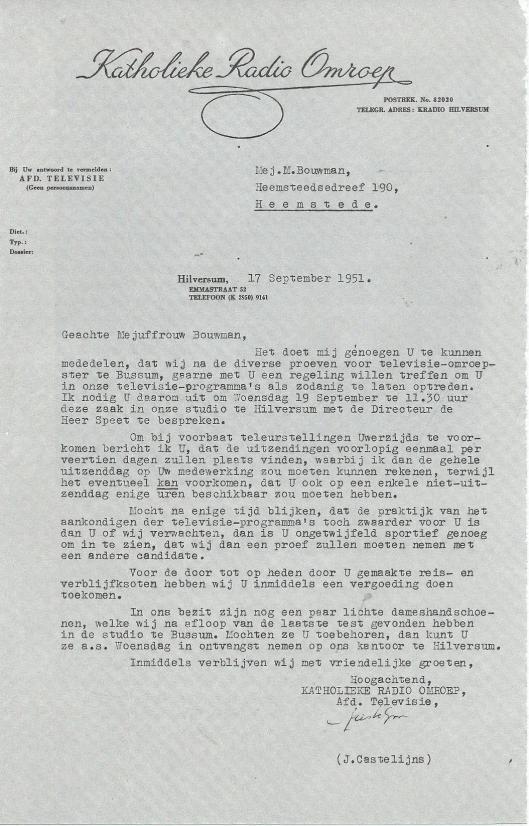 Brief van de KRO aan Mies Bouwman