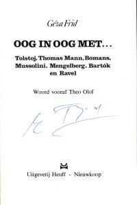 Gesigneerd in exemplaar van Frank van der Voordt
