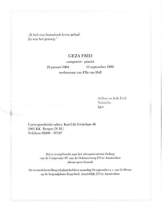 Overlijdensbericht Géza Frid