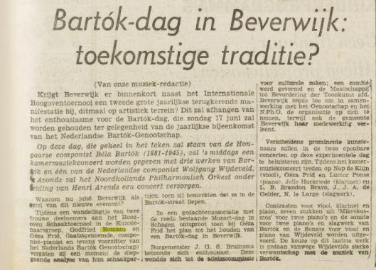 Bartók-dag in Beverwijk. Uit: Het Vrije Volk van 17 mei 1962