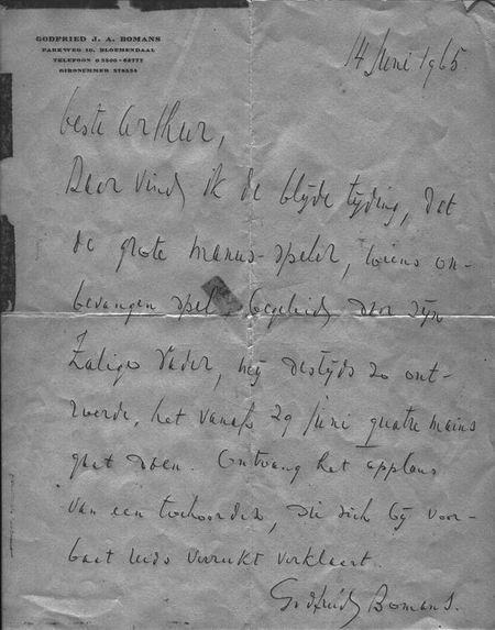 Brief van Godfried Bomans aan Arthur Frid, zoon van Géza Frid