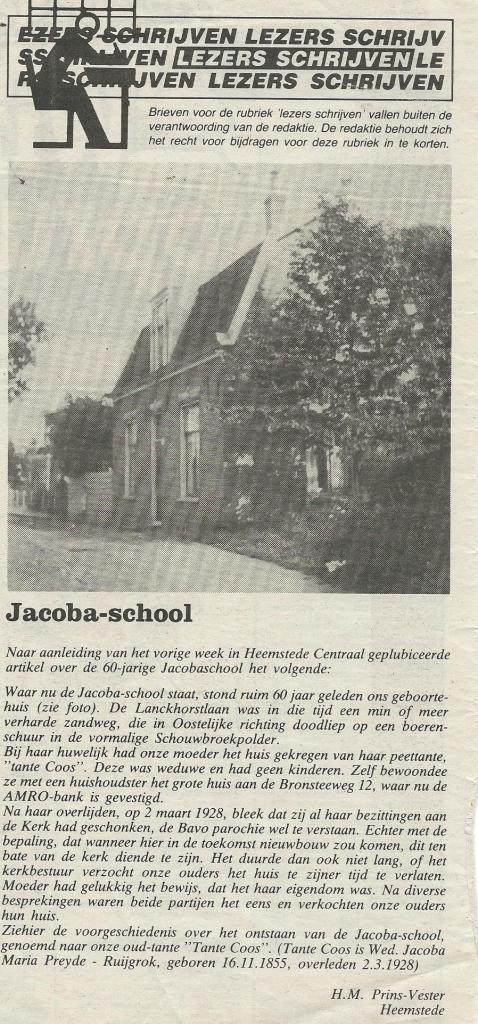 Ingezonden bericht van H.M.Prins-Vester in Heemstede Centraal van 10 januari 1989