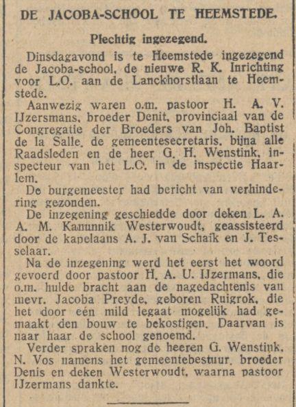Inwijding van Jacobaschool uit de Tijd van 31-12-1930
