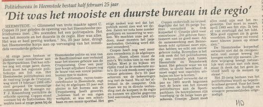 Artikel over het nieuwe politiebureau dat in 1966 aan de Cruquiusweg gereed kwam