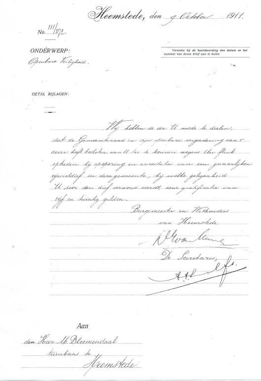 Afschrift van verstrekte gratificatie boor burgemeester en wethouders van Heemstede, in bovenstaand voorbeeld aan tuinbaas J.Bloemenndaal