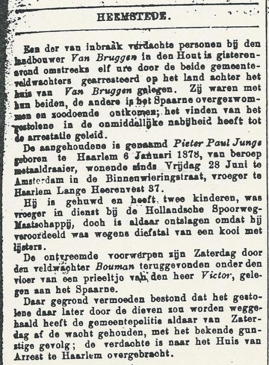 Verslag van een inbraak in 1901 uit de Opr.Haarlemsche Courant