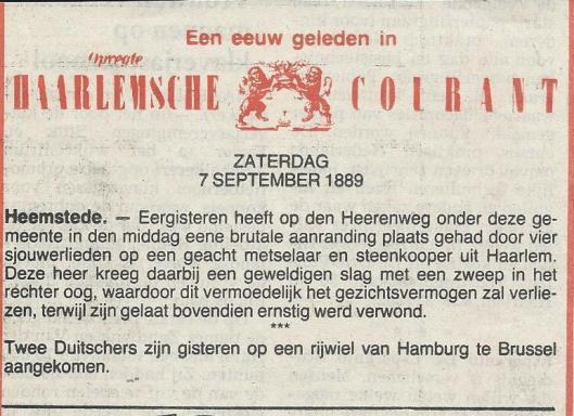 Politiebericht van een aanranding uit de Opr. Haarlemsche Courant