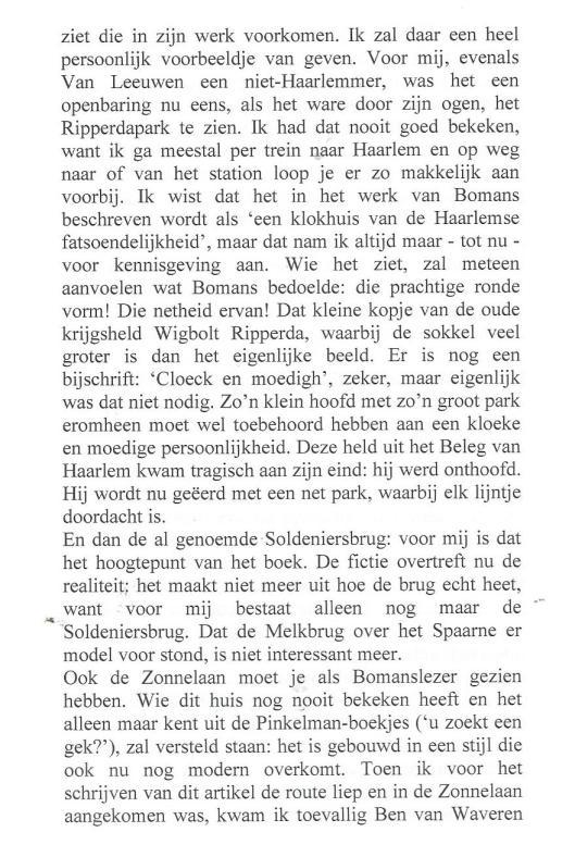 Over Ben van Waveren als buurman van Godfried Bomans, uit: Jac Aarts, Met andere maten, 2008, pagina 94
