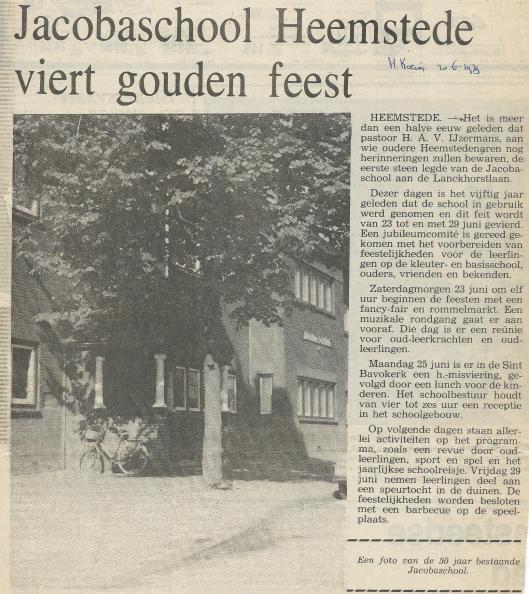 Viering van gouden jubileumfeest Jacobaschool. (De Heemsteedse Koerier van 20 juni 1979).