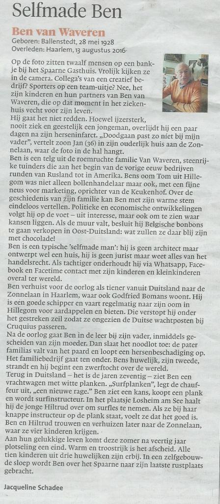 Column gewijd aan Ben van Waveren, uit het Haarlems Dagblad van 17 september 2016