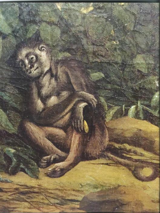 Frans Post: op het schilderij van zicht op Olinda heeft de kunstenaar de (kennelijk dode) aap afgebeeld met een banaan (detail schilderij Rijksmueum)