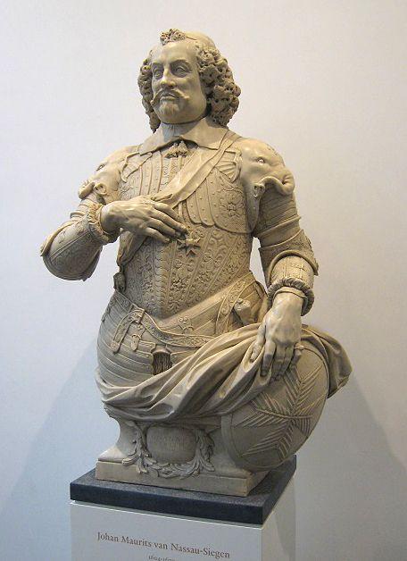 Kopie van borstbeeld van Johan Maurits in de hal van het Mauritshuis Den Haag. Het origineel, vervaardigd door Bartholomeus Eggers staat in de graftombe van de prins in Siegen.