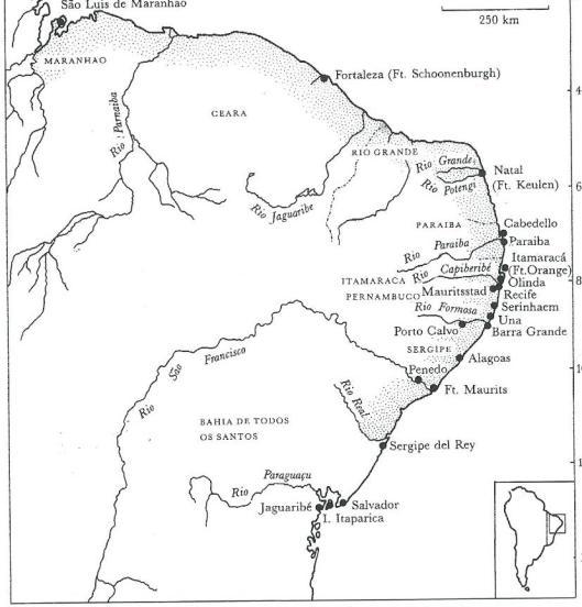 Kaart met plattegrond van de Nederlandse kolonie in Brazilië, 1643