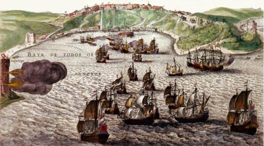 Afbeelding van de Hollandse vloot onder leiding van Piet Hein in de baai van Salvador (Bahia)
