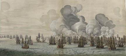 Ets van de Hollandse vloot voor de kust van Recife
