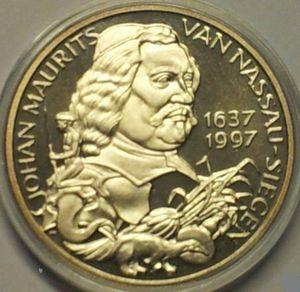 Pennung in 1997 geslagen in herinnering aan Johan Maurits die in 1637 tot gouverneur-generaal is benoemd van de kolonie 'Nieuw Holland'tot en met 1643