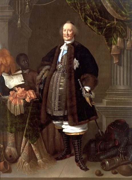 Graaf Johan Maurits geschilderd door Pieter Nason met een Afrikaanse jongen. Vanuit Brazilië nam hij ook enkele Indiaanse jongeren mee naar Nederland