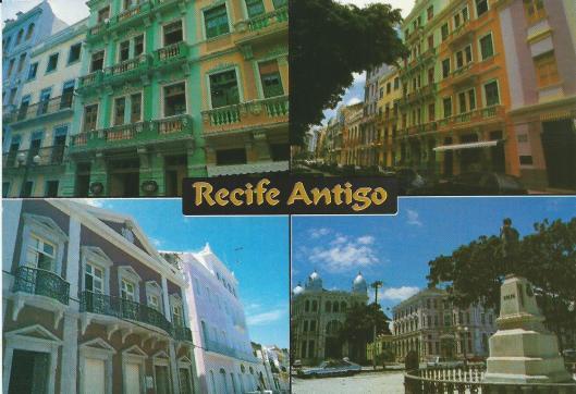 Ansichtkaart van de Joodse wijk in het historisch stadsdeel van Recife
