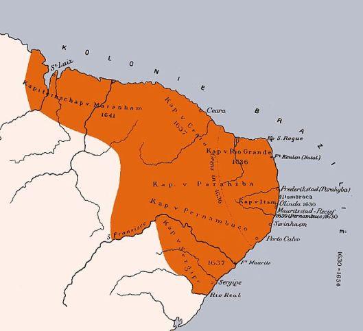 Kaart van Hollandse kolonie in noordoost Brazilië ten tijde van Johan Maurits