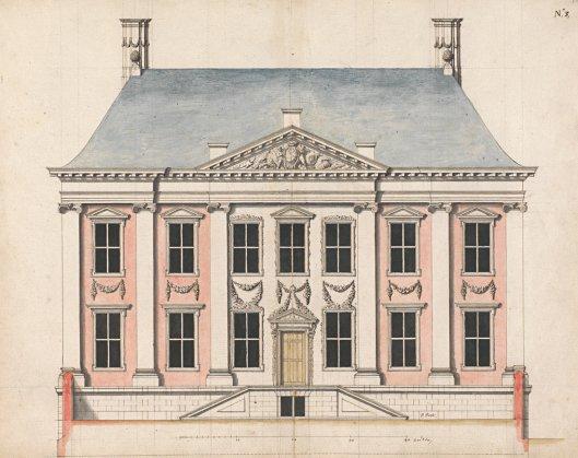 Tekening van het Maurrits Huis door Pieter Post, oudere broer van Frans Post (Koninklijke Bibliotheek)