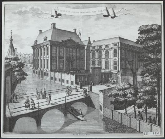 Gravure van het Mauritshuis, de Hollandse woning van Johan Maurits, in Den Haag, tegenwoordig museum