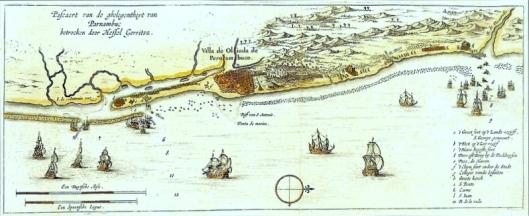 Oudste kaart van Pernambuco uit 1631 door Hessel Gerritz.