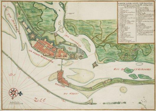 Kaart van Recife door cartograaf Johannes Vingboons