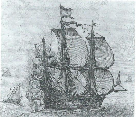 Afbeelding van het schip genaamd Zutphen waarmee graaf Johan Maurits naar Brailië voer