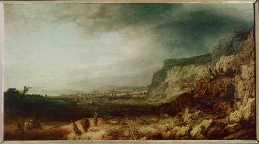 Schilderij van Segers van een panoramisch berglandschap